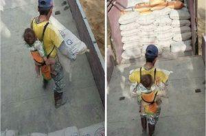 Pai perde a esposa e divide opiniões com sua triste história: Carrega seu filho nas costas enquanto trabalha!